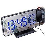 Cricia Projektionsuhr, Digitaluhr mit UKW-Radio, 8'LED-Spiegelanzeige, 4 Helligkeitsstufen,...