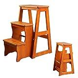 Chair Klappstuhl, multifunktional, 3 Etagen, Leiter aus Holz, für Erwachsene, Kinder, Küche,...