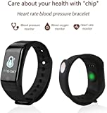 Fitness-Tracker mit Herzfrequenz-Sportarmband, Smartwatch, wasserdicht, Blutdruck, Smart-Armband...