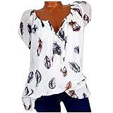 Damen Bluse Kurzarm V-Ausschnitt Hemdbluse Sommer Shirt Blumen Drucken Shirt Sommer Große Größen...