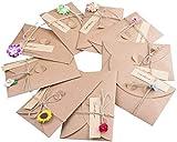 10 Stück DIY Getrocknete Blumengrußkarte,Briefumschläge Postkarte, Retro Kraftpapier...