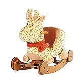 HEMFV Schaukelpferd Spielzeug 2 in 1 Bewaldete Plüsch Rocker Stuhl mit Rädern
