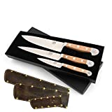Güde Messer Set 3-teilig Starter Alpha Birne 3-B000 + SCHARFsinnig Shabby Chic Leder...