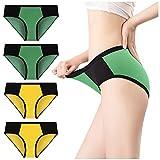 Eaylis 4PC Damen Farbe Patchwork Slip Höschen Baumwolle Unterwäsche Knickers Bikini Unterhose,...