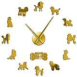 Geschenk Für Pudelliebhaber 3D DIY Wanduhr Dog Club Mode Dekoration Tiere Shop Ornament Uhr...