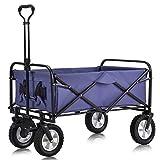 Faltbar Bollerwagen, Handwagen mit Dach Transportkarre Gerätewagen Picknick für Outdoor Camping...