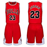 Kinder Trikots Set-Chicago Bulls Nr. 23 Trikot Basketball Shirt Weste Top Sommer Shorts für Jungen...