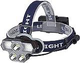 HXJZJ Stirnlampe, LED Kopflampe USB Wiederaufladbare Headlight IPX45 Wasserdichter Kopfleuchte Mit 4...