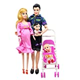 fllyingu Schwangere Barbie-Puppe Mit Baby Im Bauch, Puppenfamilie Spielset Familienpuppen Set-Papa,...
