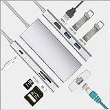 USB C Hub, 7-in-1 USB C Adapter mit 2 USB 3.0-Anschlüssen, 4k Hdmi-Ausgang, Rj45 Gigabit Ethernet,...