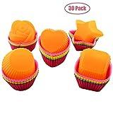 Kaxich Muffinfrmchen Silikon, 30 Stcke Muffinformen Wiederverwendbare Backfrmchen Silikonbackformen...