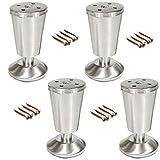 Home Küche Füße Tischbeine 4 PC Metallmöbel Beine, Ersatz Bett Beine, Silber TV Schrank Füße,...