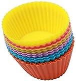 Kuchenbecher 12 Stück Wiederverwendbare Silikon-Backbecher Cupcake-Formen Backformen Muffinformen...
