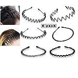 6 Stück Unisex Metall Haarband, Schwarz Spring Wave Haarband, Rutschfestes Elastisches Stirnband...
