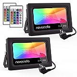 Novostella 2er RGB 15W LED Strahler Mit Fernbedienung 16 Farben 4 Modi Objektbeleuchtung LED Fluter...
