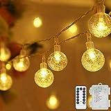 Lichterkette LED Lichterkette Warmweiß 5m 50LED Kristall Kugeln Lichterkette Batterie mit...