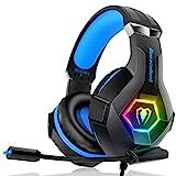 Gaming Headset für PC PS4 Xbox One, 7 Farbe RGB-LED Licht, Surround Sound Gaming Kopfhörer mit...