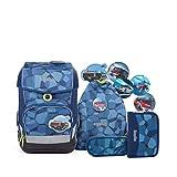 Ergobag cubo Light TattaBr, ergonomischer Schulrucksack, extra leicht, Set 5-teilig, 19 Liter, 780...