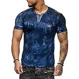 EUZeo Herren Casual Mode T-Shirts Drucken Patchwork Rundausschnitt Kurzarmshirts Slim Fit Oberteil...