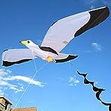 Groß 3D Möwe Drachen- Größe: 140 x 55 cm - 100 m Kite String - Langer Spiralschwanz Einzelne...