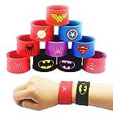 LATERN 10Pcs Bunte Schnapparmbänder für Kinder, Superhelden Slap Bands Silikon Wristband Party Bag...