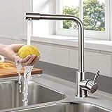 WOOHSE Küchenarmatur Edelstahl mit Drehbarem Auslauf, 360° Drehbar Wasserhahn Küche, Armatur...