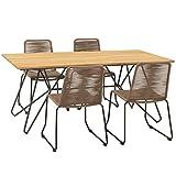 OUTLIV. Maranello Gartenmöbelset 5tlg. Stahl/Teak/Rope, Tisch 180x90, Stuhl 60,5x55, Gestell in...