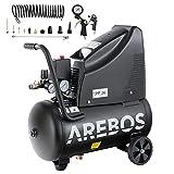 Arebos Druckluftkompressor | Kompressor | ölfrei | 1100W | 24 L | 8 bar | Ansaugleistung 165 L/min,...