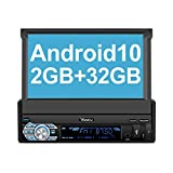 Vanku Android 10 Autoradio 1 Din Radio mit Navi 2GB+32GB Ausfahrbares Touchscreen Unterstützt...