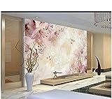 Schönheit schöne und elegante Lilie romantische Blumen warme Marmor Hintergrundwand 3d Tapete-300...