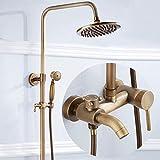ZGQA-GQA Europäische Retro Bronze 3 Funktion Badezimmer Dusche Set Handduschsystem Messing Antik...