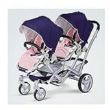 QIFFIY Kinderwagen für Zwillingskinderwagen, kann sitzen und zurücklehnen, zusammenklappbarer Korb...