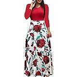 JKLEUTRW Brautkleid Langarm Minikleid Kleid Mode Frauen Langarm Blumendruck Lange Maxi Kleid Damen...