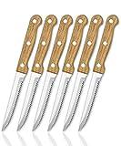 vendify® Premium Steakmesser Set 6-teilig mit Holz-Griff Hochwertig - Sehr Scharf Brotmesser...