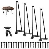 4er Set Haarnadelbeine 9mm, 2-Stange Bein, WINSOON Haarnadel Tischbeine Schwarz 41cm Stabile Hairpin...