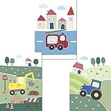 LALELU-Prints 3er Set Poster Kinderzimmer Deko Junge Bilder Fahrzeuge Bagger Traktor Feuerwehr DIN...