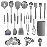 Küchenhelfer Set, 25 teilige Küchenutensilien Silikon grau, spülmaschinenfeste & antihafte...