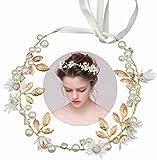 INTVN Braut Haarschmuck Blumenstirnband Braut Blumenkranz mit Künstliche Blättern,Blumen und Perle...