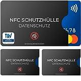 TÜV geprüfte NFC Schutzhülle (3 Stück) aus Kunststoff für Kreditkarte Personalausweis EC-Karte...
