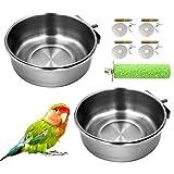 2 Stück Vogelnapf edelstahl, Vogelfutterschale für Papageien mit Klemmhalter,...