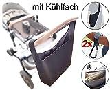 Universelle Kinderwagen Einkaufstasche XL (Neopren) mit Kühlfach - Schultergurt - 2 Karabinerhaken...