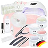 Nagelstudio Starter Set Basic für Gelnägel mit LED Lampe + Gel Made in Germany und allem Zubehör
