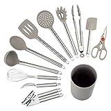 COMLIFE Küchenhelfer Set, 12-teiliges Küchenzubehör Kochgeschirr Set aus Edelstahl & Silikon,...