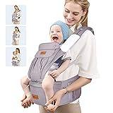 amzdeal Ergonomische Babytrage, Bauchtrage Rückentrage mit Hüftsitz, Leicht und atmungsaktiv, 9 in...