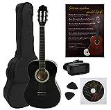 NAVARRA Konzertgitarre 4/4 STARTER SET schwarz mit cremefarbigen Randeinlagen, incl. Tasche leicht...