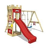 WICKEY Spielturm Ritterburg KnightFlyer mit Schaukel & roter Rutsche, Spielhaus mit Sandkasten,...