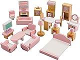 NextX Puppenhausmöbel Set Zubehör Puppenhaus Holz 22-teilig, Möbel für Minipuppen enthalten...