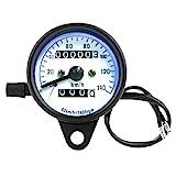 Motorrad Tachometer, DC 12 V Geschwindigkeitsmesser Retro Motorrad Dual Kilometerzähler Tester...