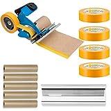 Colorus Handabdeckroller Set Abdeckfolie Masker Tape | Abdeckpapier 15 cm x 50 m | Goldband 30 mm x...