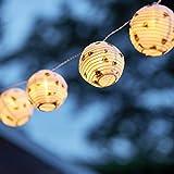 Lights4fun 20er Lampion LED Lichterkette mit Bienen Print warmweiß koppelbar Innen Außen